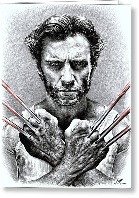 Horror Drawings Greeting Cards - Wolverine Greeting Card by Andrew Read