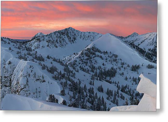 Little Cottonwood Canyon Greeting Cards - Wolverine Cirque Sunrise Panoramic Greeting Card by Brett Pelletier