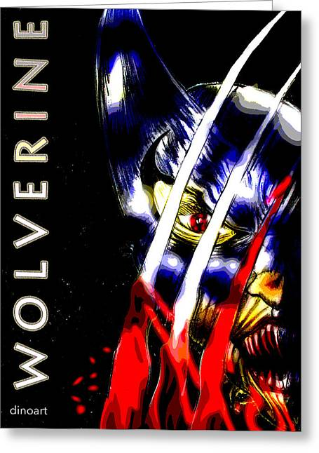 Comic Book Character Paintings Greeting Cards - Wolverine  Greeting Card by Jazzboy