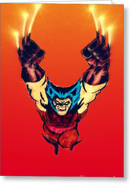 Justin Moore Digital Art Greeting Cards - Wolverine  Greeting Card by Justin Moore