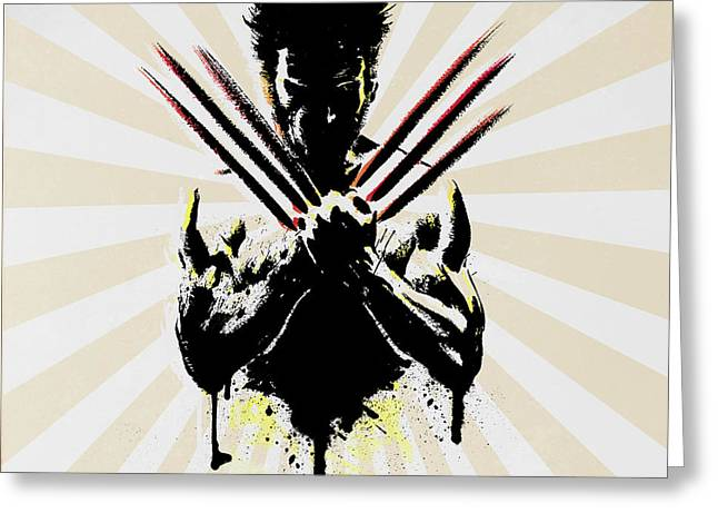 Funny Pop Culture Greeting Cards - Wolverine Greeting Card by Mark Ashkenazi