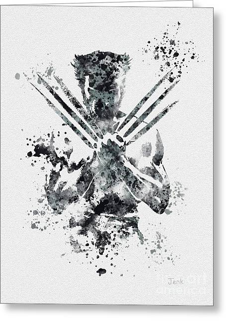 Men Mixed Media Greeting Cards - Wolverine Greeting Card by Rebecca Jenkins