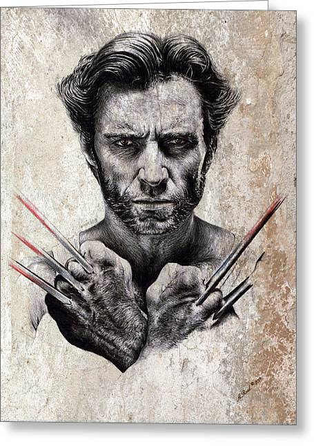 Featured Drawings Greeting Cards - Wolverine splash effect Greeting Card by Andrew Read