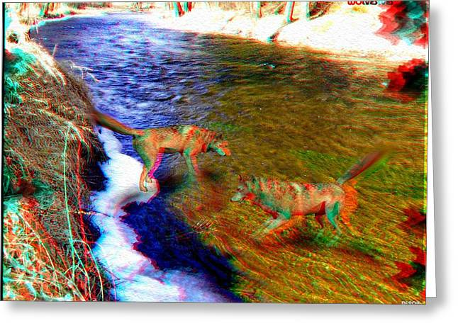 Dogs In Snow. Digital Art Greeting Cards - Wolves 3D Anaglyph Greeting Card by Daniel Janda