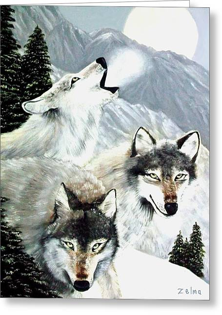 Zelma Hensel Greeting Cards - Wolves Howling at the Moon Greeting Card by Zelma Hensel