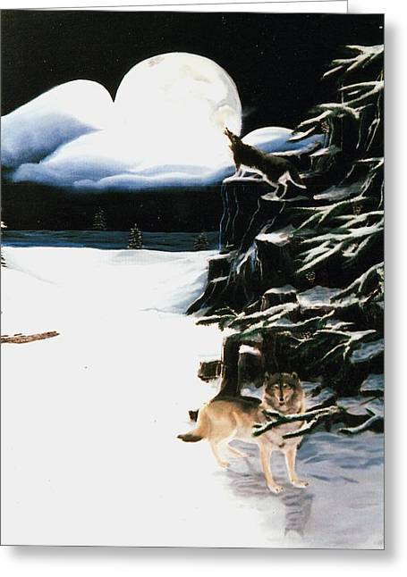 Susan Roberts Greeting Cards - Wolves in the Snow Greeting Card by Susan Roberts