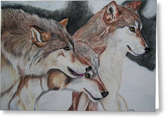 Wolf Pastels Greeting Cards - Wolves Greeting Card by Joan Pye