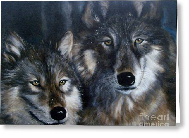 Spririt Greeting Cards - Wolves Greeting Card by Julie Bond