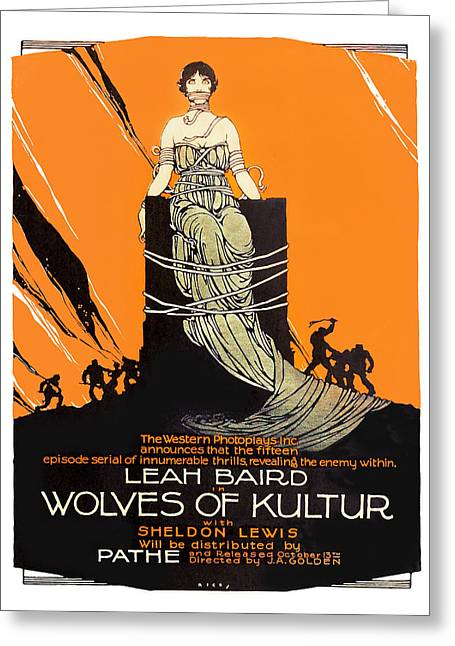 Movie Art Greeting Cards - Wolves Of Kultur 1918 Movie Poster Greeting Card by Vintage Product Ads