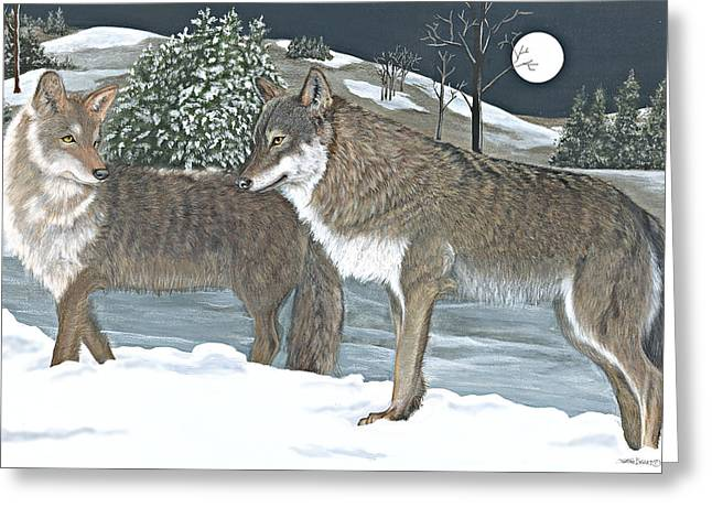 Snowy Night Night Pastels Greeting Cards - Wolves Greeting Card by Sally  Evans