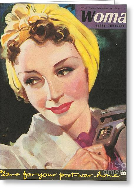 Ww Ii Drawings Greeting Cards - Woman 1940s Uk Women At War Mechanics Greeting Card by The Advertising Archives