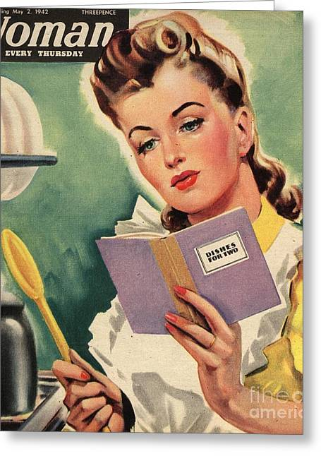 Twentieth Century Greeting Cards - Woman 1942 1940s Uk Cooking Women Greeting Card by The Advertising Archives