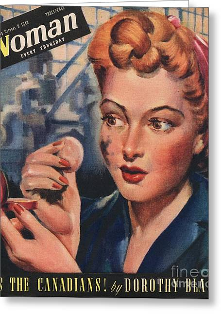 Ww Ii Drawings Greeting Cards - Woman 1943 1940s Uk Women At War Greeting Card by The Advertising Archives
