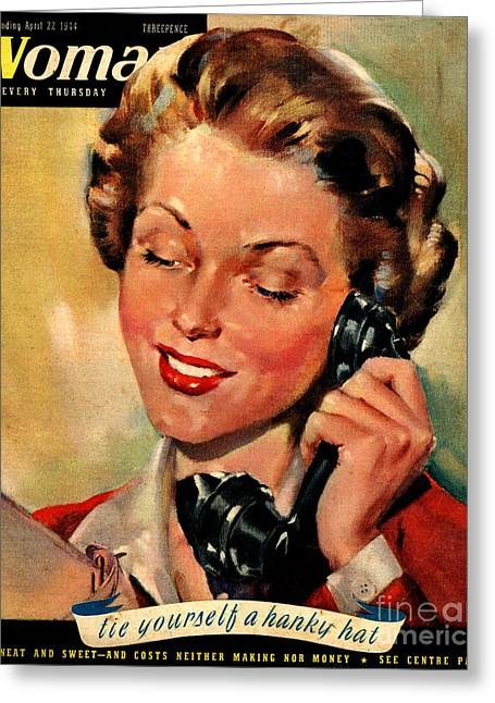 Twentieth Century Greeting Cards - Woman 1944 1940s Uk Womens Magazines Greeting Card by The Advertising Archives