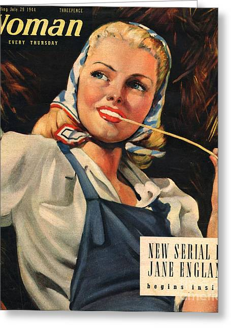 Ww Ii Drawings Greeting Cards - Woman 1944 1940s Uk Womens Portraits Greeting Card by The Advertising Archives