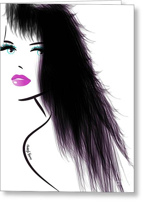Long Hair Digital Greeting Cards - Woman 5 Greeting Card by Cheryl Young