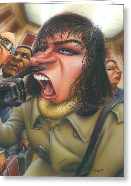 Microbiology Paintings Greeting Cards - Woman About To Sneeze In Elevator - Flu Season - Sneezing - Common Cold - Humorous - Illustration Greeting Card by Walt Curlee