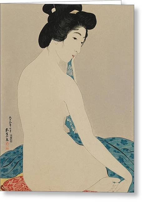 Woman After A Bath Taisho Era Greeting Card by Goyo Hashiguchi