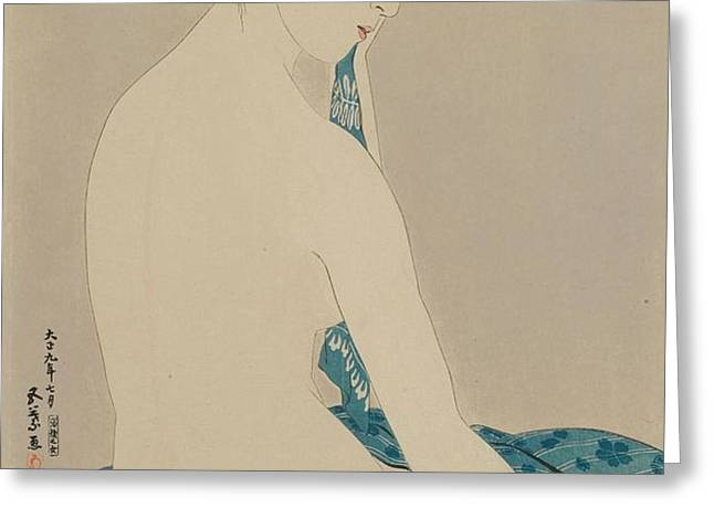 Woman After a Bath Taisho era Greeting Card by Goyo Hashiguchi