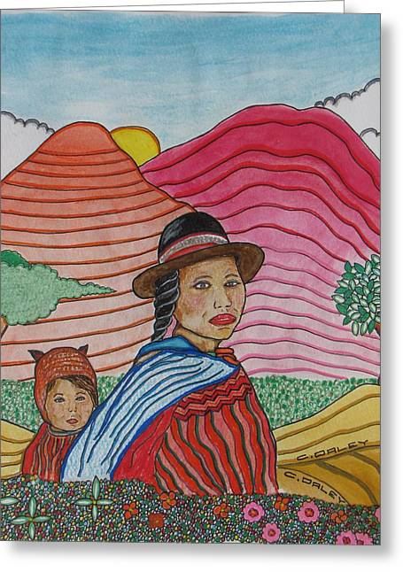Granja Greeting Cards - Woman And Child Greeting Card by Charles  Daley