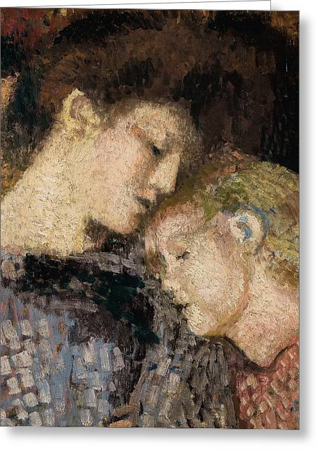 Lounge Paintings Greeting Cards - Woman and Child Greeting Card by Georges Lemmen
