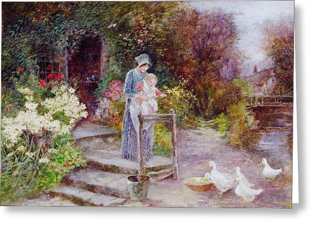 Water Garden Greeting Cards - Woman and Child in a Cottage Garden Greeting Card by Florence Agnes Mackay