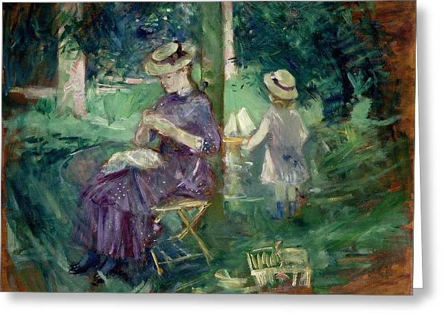 Woman And Child In A Garden Greeting Card by Berthe Morisot