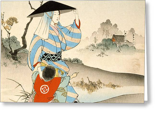 Woman and child  Greeting Card by Ogata Gekko