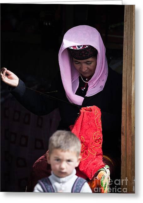 Ethnical Greeting Cards - Woman and child Tashkurgan Xinjiang China Greeting Card by Matteo Colombo