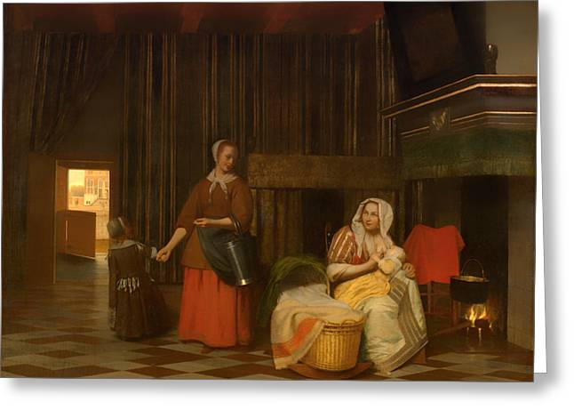 Housemaid Greeting Cards - Woman and Child with Serving Maid Greeting Card by Pieter de Hooch