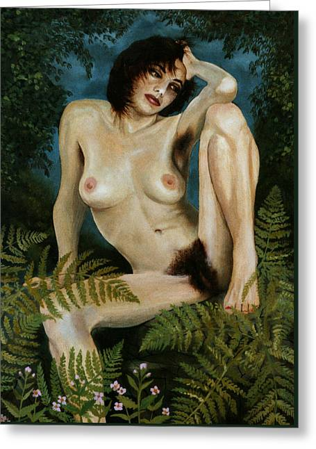 Naturism Greeting Cards - Woman And Ferns Greeting Card by Jo King