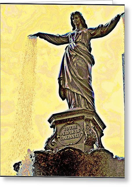 Recently Sold -  - Historic Statue Greeting Cards - Woman and Flowing Water Sculpture at Fountain Square Greeting Card by Kathy Barney
