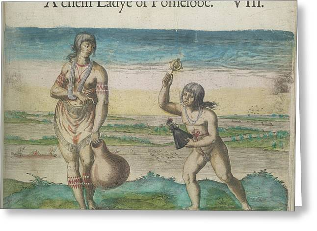 Woman And Girl Of Pomeiooc Greeting Card by British Library