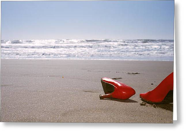 Surf Lifestyle Photographs Greeting Cards - Woman And High Heels On Beach Greeting Card by Panoramic Images