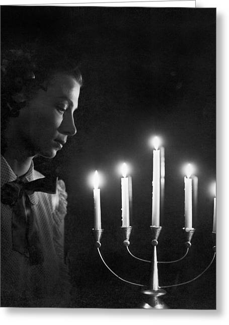 Recently Sold -  - Candle Stand Greeting Cards - Woman And Menorah Greeting Card by Underwood Archives