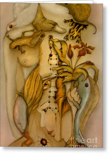 Rosy Hall Greeting Cards - Woman and Nature 2 Painted Greeting Card by Rosy Hall