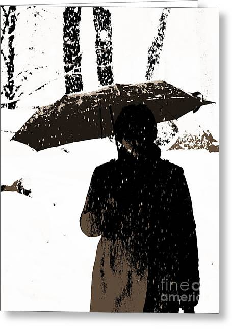 Young Woman Pyrography Greeting Cards - Woman and rain Greeting Card by Yury Bashkin