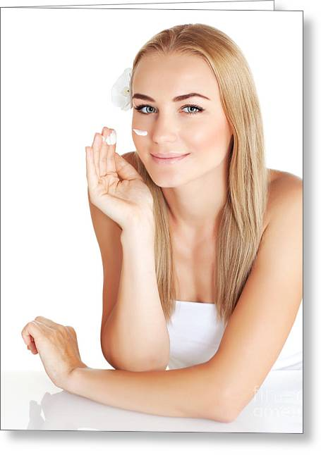 Moisturizer Greeting Cards - Woman apply anti wrinkle cream  Greeting Card by Anna Omelchenko