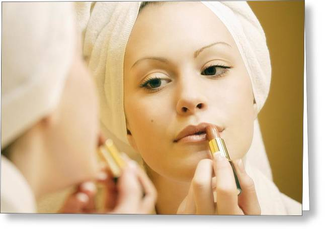 Youthful Greeting Cards - Woman Applying Lipstick Greeting Card by Don Hammond