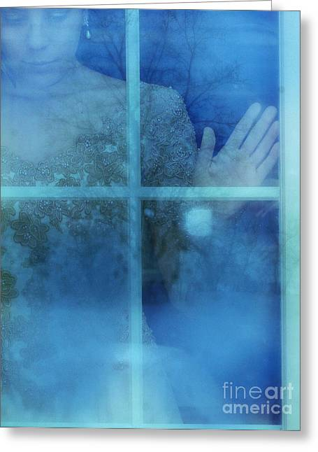 Ball Gown Greeting Cards - Woman at a Window Greeting Card by Jill Battaglia
