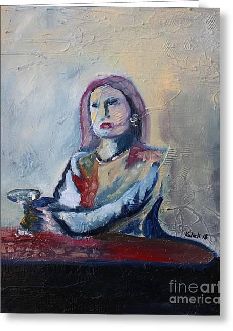 Woman At Bar Greeting Card by Michael Kulick