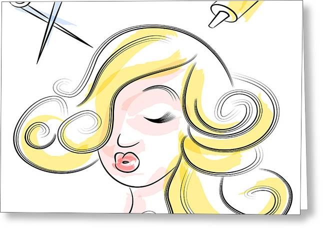 Hair Dye Greeting Cards - Woman at Beauty Salon Greeting Card by John Takai
