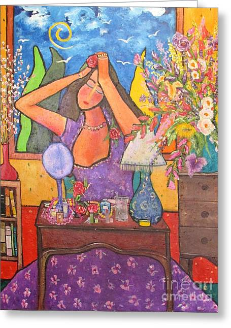 Woman In A Dress Greeting Cards - Woman at Dressing Table Greeting Card by Chaline Ouellet