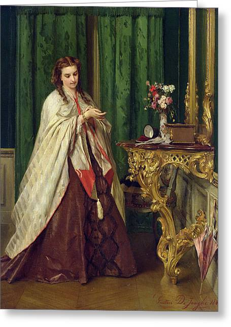 Consoling Photographs Greeting Cards - Woman At Her Toilet, 1862 Oil On Panel Greeting Card by Gustave Leonard de Jonghe