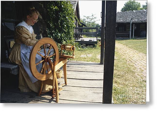 Period Clothing Greeting Cards - Woman At Spinning Wheel, Fort New Greeting Card by Van D. Bucher