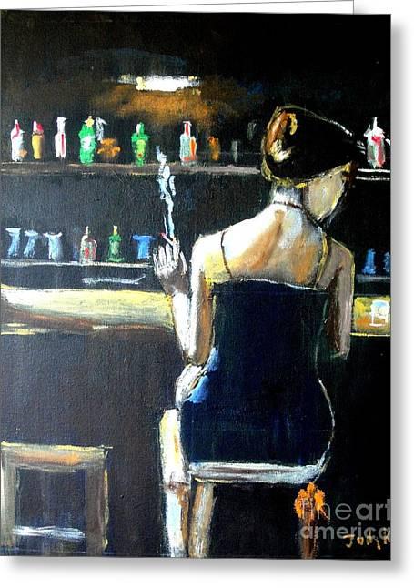 Emotive Greeting Cards - Woman at the Bar Greeting Card by Judy Kay