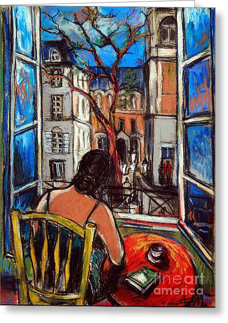 Urban Buildings Pastels Greeting Cards - Woman At Window Greeting Card by Mona Edulesco
