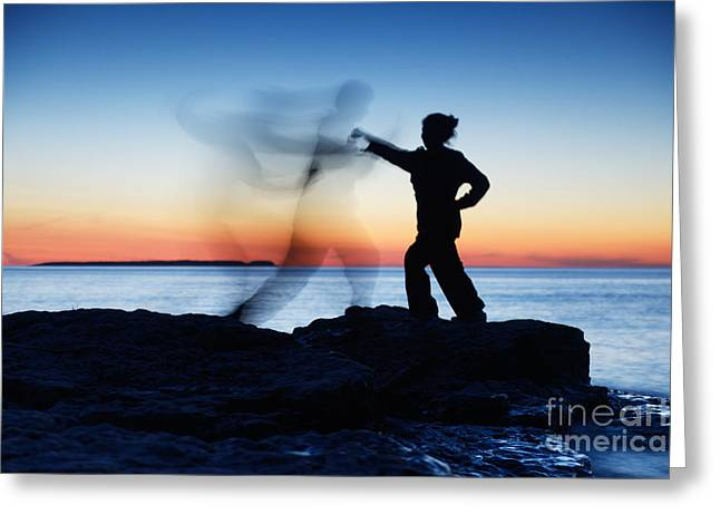Opponent Greeting Cards - Woman attacking a ghost shadow of a man Greeting Card by Oleksiy Maksymenko