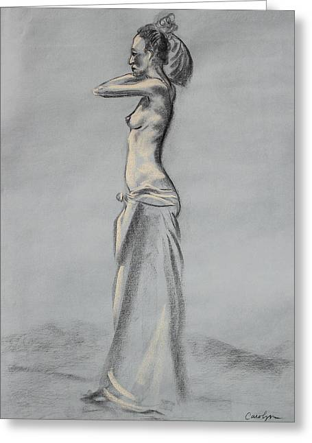 Cloth Pastels Greeting Cards - Woman Balancing a Bag on Her Shoulder Greeting Card by Asha Carolyn Young