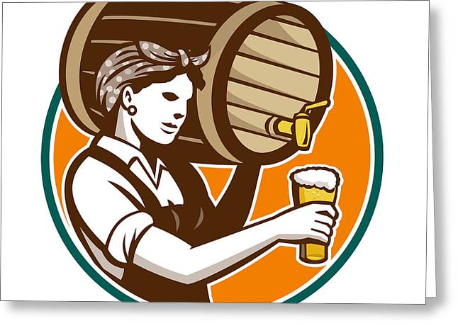 Pouring Digital Art Greeting Cards - Woman Bartender Pouring Keg Barrel Beer Retro Greeting Card by Aloysius Patrimonio